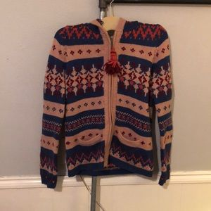 Anthro patterned zip up sweater